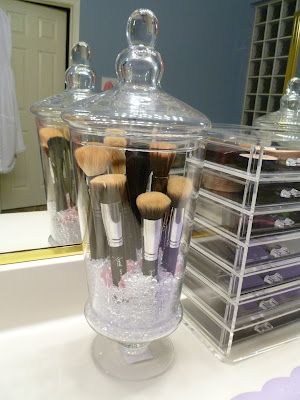 I bought this same jar and put my makeup brushes in it!! I love it because they no longer get dusty which is so bad for your skin plus they are supposed to be stored vertical like this to be best for the brushes! Its also pretty to look at!