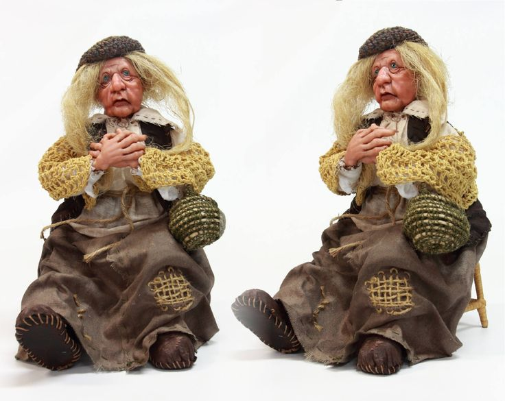 BEGGAR OLD WOMAN ooak art doll, polymer clay sculpture, home decor, grandma senior old lady handmade doll, by LalkowniaDolls on Etsy