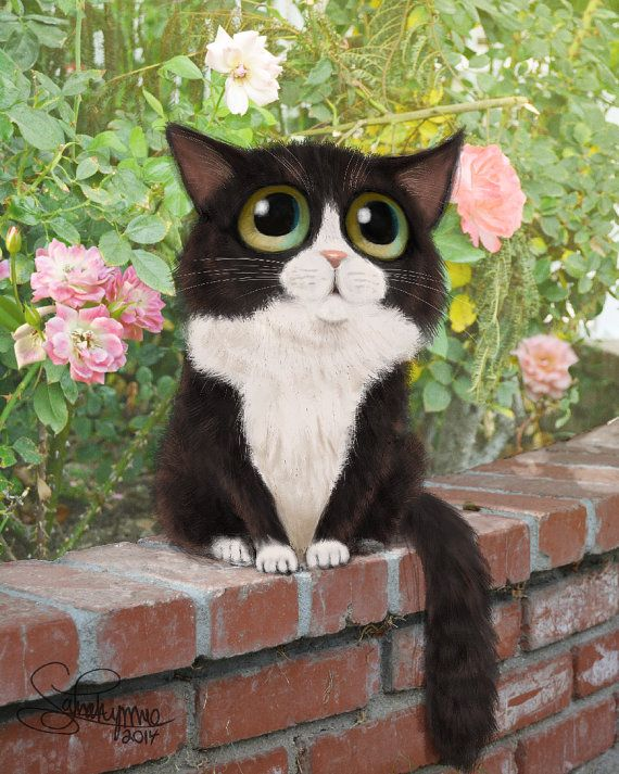 Keane Inspired Big Eyed Cat Print, Cat Artwork, Humorous Cat Print, Decorative…