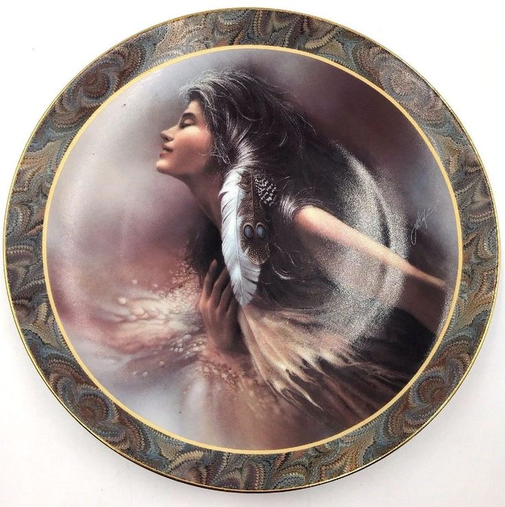 LEE BOGLE Native Beauty Flowing Ebony Hair Feather & Beads THE PROMISE Plate #BradfordExchange