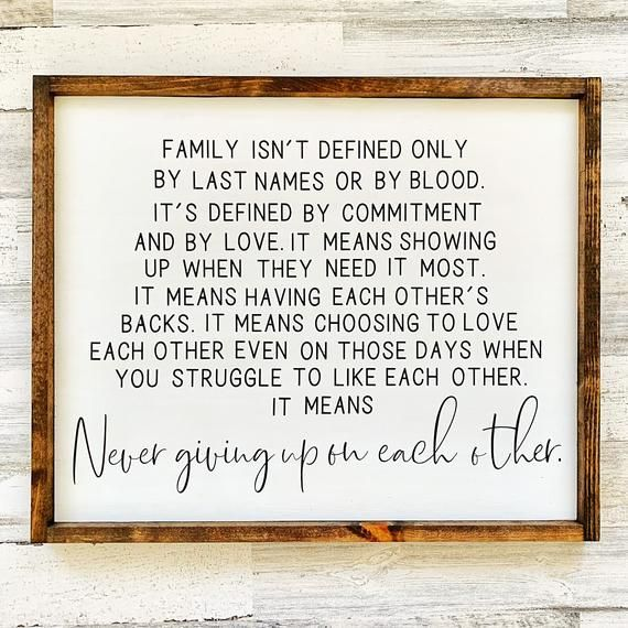 Family Sign⎪Family Quote Sign⎪Mantle Decor⎪Gallery Wall⎪Farmhouse Decor⎪Modern Farmhouse⎪Neutral Decor⎪Never Give Up Sign⎪Family Room Sign