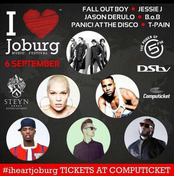 About The Festival  The innaugural, annualI Heart Joburg Music Festivalis an uninterrupted 12 hour musical explosion dedicated to the beautiful city of Johannesburg. The festival promises the biggest entertainment line-up to hit the shores of Southern Africa. Festival goers can expect an eclectic mix of 6 local and 6 international superstars across various genres.  The incredible line-up consists of some of the biggest names on the international scene including Grammy awards winners, MTV…