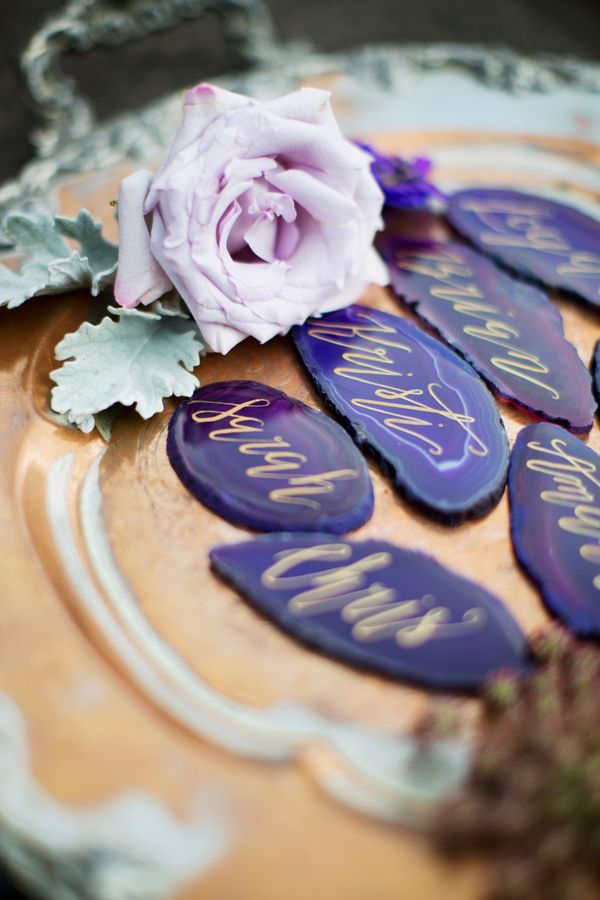 Geode calligraphy place cards