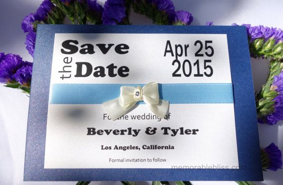 Navy Blue Modern Save the Date with Swarovski crystal by MemorableBliss