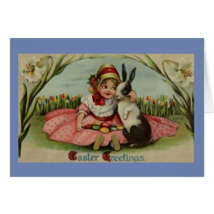 Girl and Rabbit Happy Easter Greeting Card - happy easter egg holiday family diy custom personalize