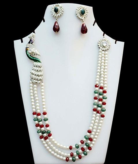 #Green, #Maroon and Off White Stone Imitation #Studded #Necklace Set   $55.68   Shop Here: http://www.utsavfashion.com/store/item.aspx?icode=jjr4785