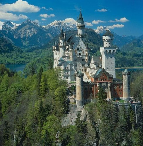 Germany - Schwangau: Neuschwanstein Castle (1891) with Lake Alpsee and the Allgäu Alps