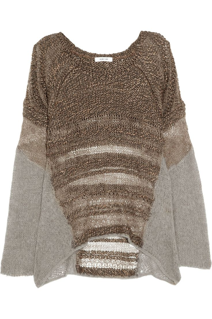 Helmut Lang - Knitted silk and alpaca-blend sweater.  Interesting-- it's like a sweater-poncho combo.