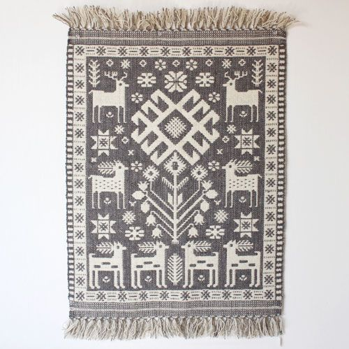 ポーランド・ヤノフ村の織物 71×54 アリチアさんのグレーの幾何学と鹿柄 - チェコ・ドイツ・東欧雑貨のお店 CEDOKzakkastore チェドックザッカストアの雑貨通販サイト