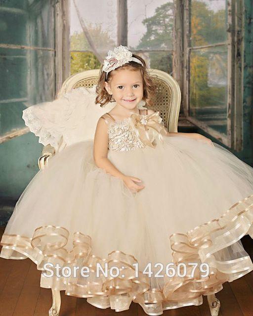2015 lindos vintage champagne pageant niña de las flores vestido hasta los pies hechos a mano de flores Party Girl vestidos vestido de bola del vestido para el bebé
