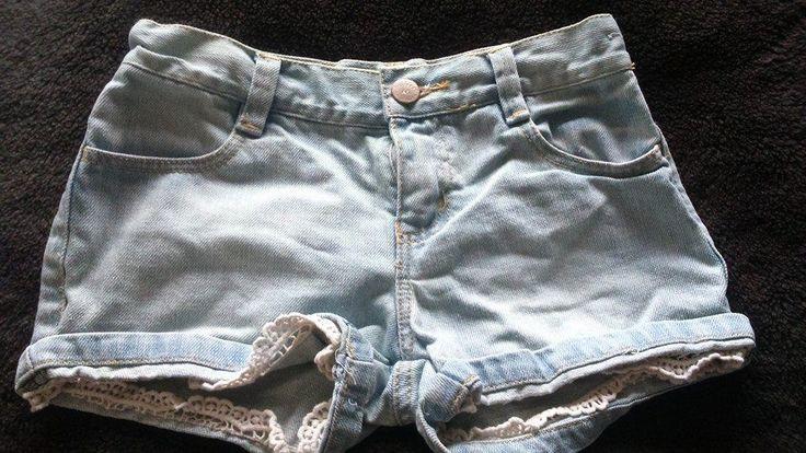 Girls Blue Mantaray Debenhams Shorts Zip Up Button Cotton Crochet Jeans Age 7
