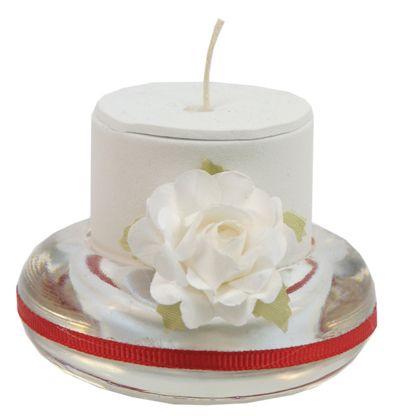 Base de cristal con vela. ideal para recuerdos de boda