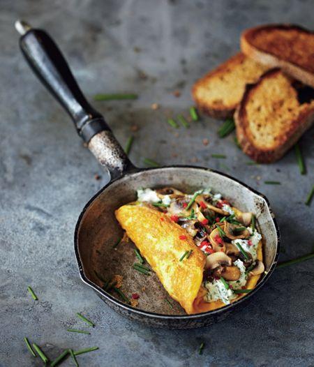 Mushroom, Ricotta and Herb Omelette - Diabetes Recipe Book