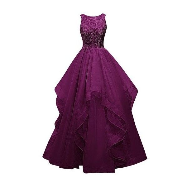 Dresstells? Long Organza Prom Dress Special Beaded Evening Party Gown:... (1.295 NOK) ❤ liked on Polyvore featuring dresses, gowns, beaded evening dresses, purple cocktail dress, purple prom dresses, long gowns and long cocktail dresses