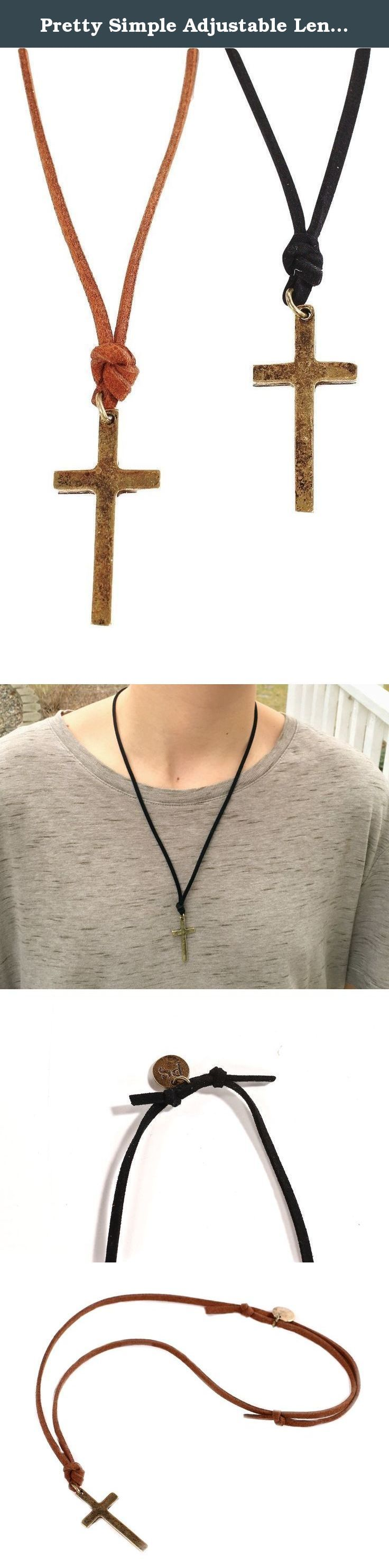Pretty Simple Adjustable Length Unisex Simple Leather Cross Necklace (Brown). Searching for a simple cross necklace suitable for men or women was hard to find. Until now! We have designed 2, very classic cross necklaces that are both meaningful and stylish. Both are strung from black or brown leather cording. Perfect confirmation, graduation, birthday, teacher gift.