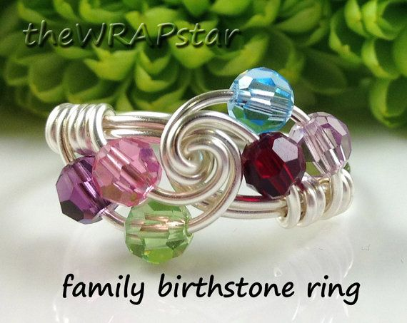 Gift for Mom Family Birthstone Ring Mothers Ring by theWRAPstar, $23.95