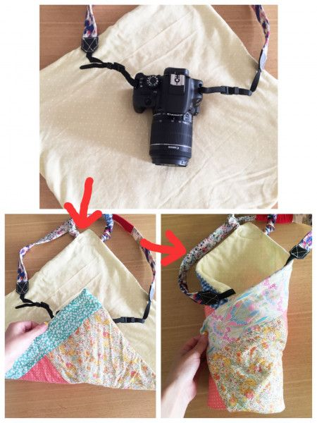 カメラを可愛く持ち歩く★カメララップを手作り - 暮らしニスタ ゴムが付いている部分はカメラのレンズの反対側になるようにしてください。
