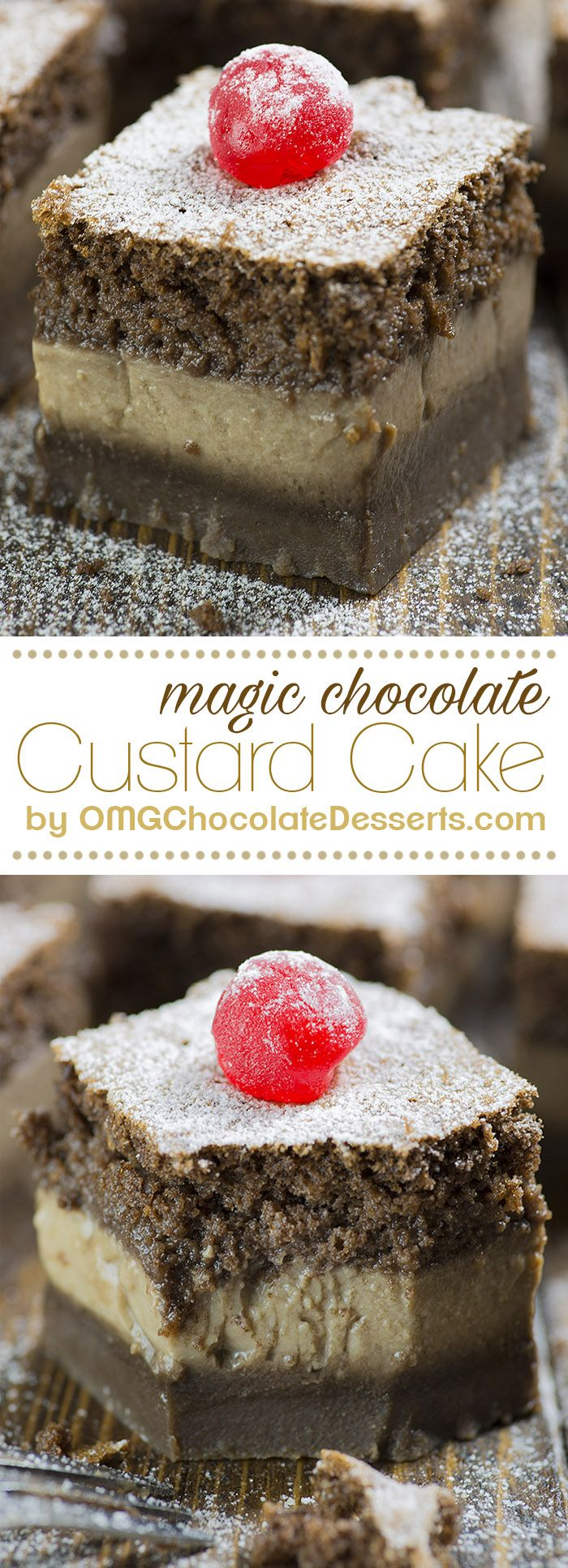 Hocus – Pocus! From one cakes mix poured into your baking pan, in a very short time, you will have three fantastic chocolate layers! Chocolate Magic Custard Cake is the perfect dessert for a true chocoholic!