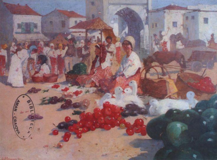 Eustaţiu Stoenescu - Piaţa Elca 1911 - painting in full format at www.iCraiova.com