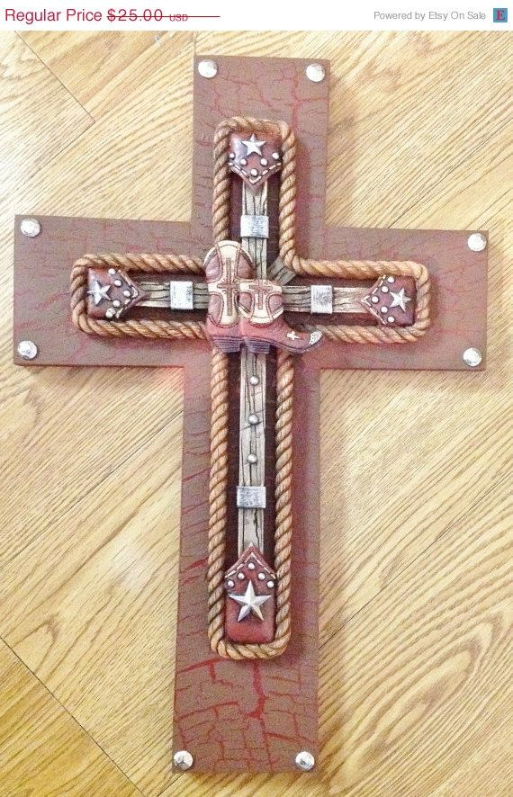 SALE25%OFF WESTERN Boot Cross Decor by TheCrossedCupcake on Etsy