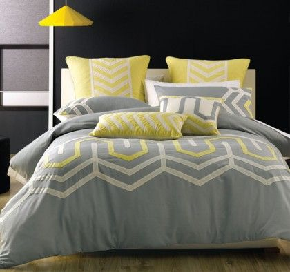 Deco Ralston Grey/Yellow Quilt Cover Set. A smart and sophisticated looking quilt cover set with a large geometric design enclosing it.