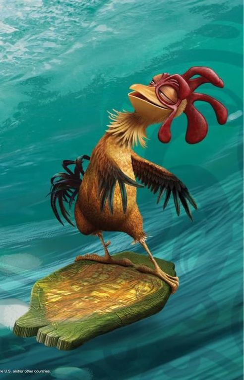 """I Love Chicken Joe! He lives for every moment and salvors every moment, and he is so innocent.  He never runs and has a ddances later style when he surfs,he never panics,he's just so good. Such a great character from """"Surfs Up"""" movie, this inspires me as an artist and animator ...check out this video http://www.youtube.com/watch?v=CIn8D8ObIyo"""