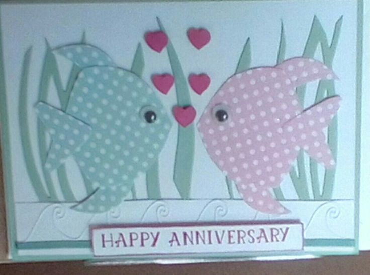 Inspired by a card by Kim Gavarro of stamp with kim.com here is my version of an anniversary card. I used dies from Delicate Ornaments and Swirly bird to make fish and pondered. Would also make a good Valentine's card.