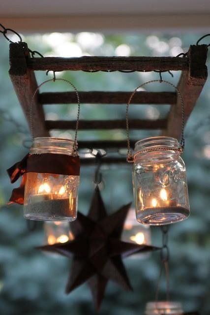 mason jars hanging from a rustic ladder mason jars. Black Bedroom Furniture Sets. Home Design Ideas