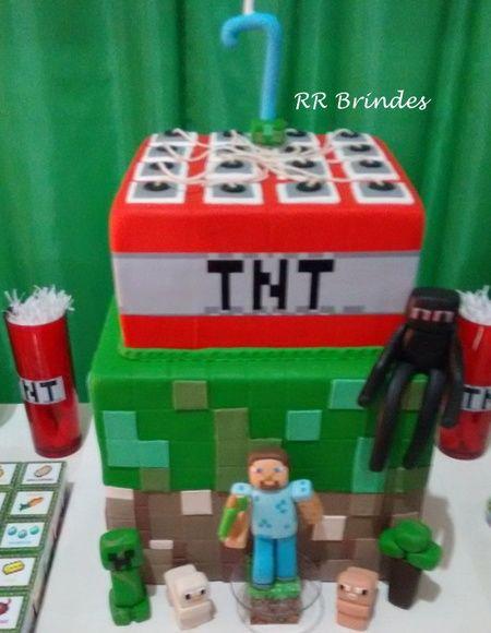 Bolo Minecraft-Locação-Maricá-RJ