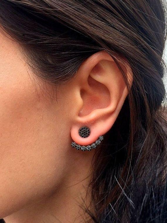 Black CZ stone Ear jacket Earrings // Same Day SHIPPING // Minimalist Ear Jacket / Fashion Ear Jacket