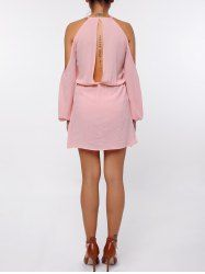 Stylish Round Collar Long Sleeve Pure Color Cut Out Chiffon Dress For Women in Pink | Sammydress.com Mobile