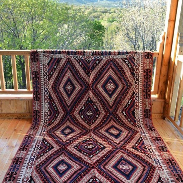FETHIYE KILIM Good morning from sunny Ankara! This beauty is sunbathing under the hot sun today! It is familiar to this weather because it is from Fethiye city which has a Mediterranean climate consisting of very hot, long and dry summers. Usually that area's kilims has geometrical motifs like this gorgeous! Dm or comment for Info&Price! ☝️Wholesale Orders Are Taken! Free Shipping! #kilim #rug #carpet #turkishkilim #vintage #oriental #design #decor #cushion #cushioncover #pillow...
