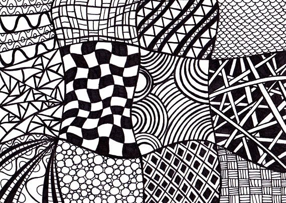 Black And White Printable Art Zentangle Inspired Ink Drawing In