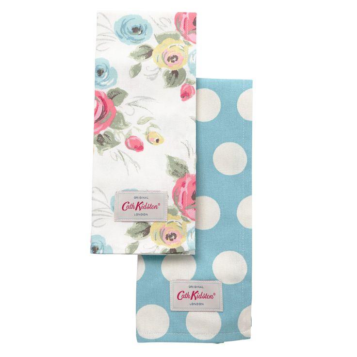 Tea Towels   Set of 2 Painterly Rose & Big Spot Tea Towels   CathKidston