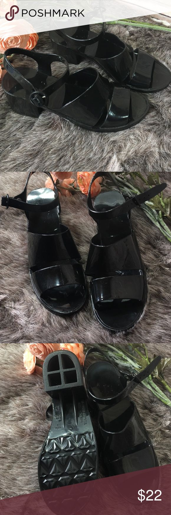 Black jelly sandals american apparel - Like New American Apparel Classic Black Jelly Heel