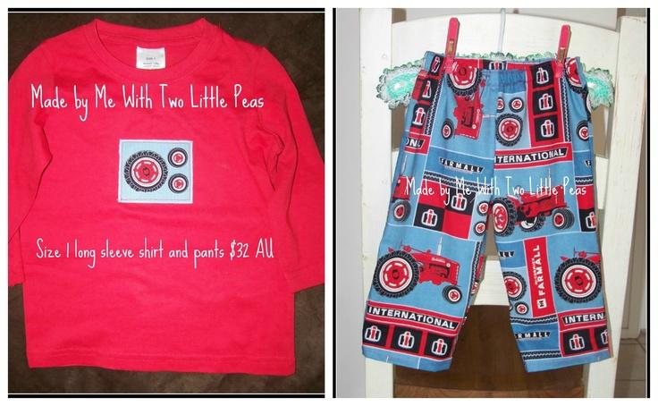 size 1 tractor set, 32 AU$ long sleeve shirt and long pants