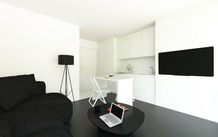 wnętrza 18m2 | projekt mieszkania o małej powierzchni, kawalerka