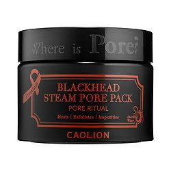 Caolion Premium Blackhead Steam Pore Pack cleanses impurities, eliminates blackheads, and exfoliates dead skin cells with a steaming effect.