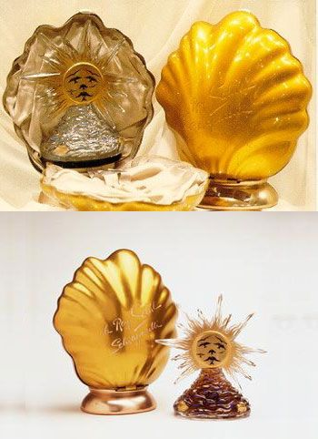 Le Roy Solei de Schiaparelli Perfume, perfume bottle designed by Salvador Dali, Baccarat crystal perfume bottle, 1946, to celebrate the end of WWII