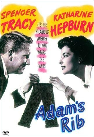 *ADAM'S RIB, (1949), Poster:  Domestic + professional tensions mount when a husband + wife work as opposing lawyers in a case involving a woman who shot her husband.  Starring: Spencer Tracy, Katharine Hepburn, & Judy Holiday.