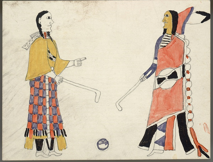 """Image from Smithsonian archives of two people playing """"shinny ball."""" Probably more like ice hockey than the Iroquois game that became lacrosse, but still a beautiful picture. From Dakota territories, late 19th century,"""