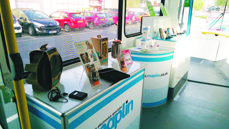 Maplin's Battle Bus - from the inside, some of the tech on display areas in the bus - Tickets please! - Festival tech and mini drones available!