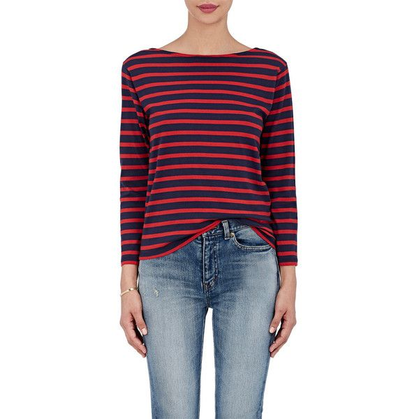 Saint Laurent Women's Breton-Striped Cotton Jersey T-Shirt (£440) ❤ liked on Polyvore featuring tops, t-shirts, longsleeve t shirts, cotton jersey, boatneck tee, blue t shirt and boat neck tops