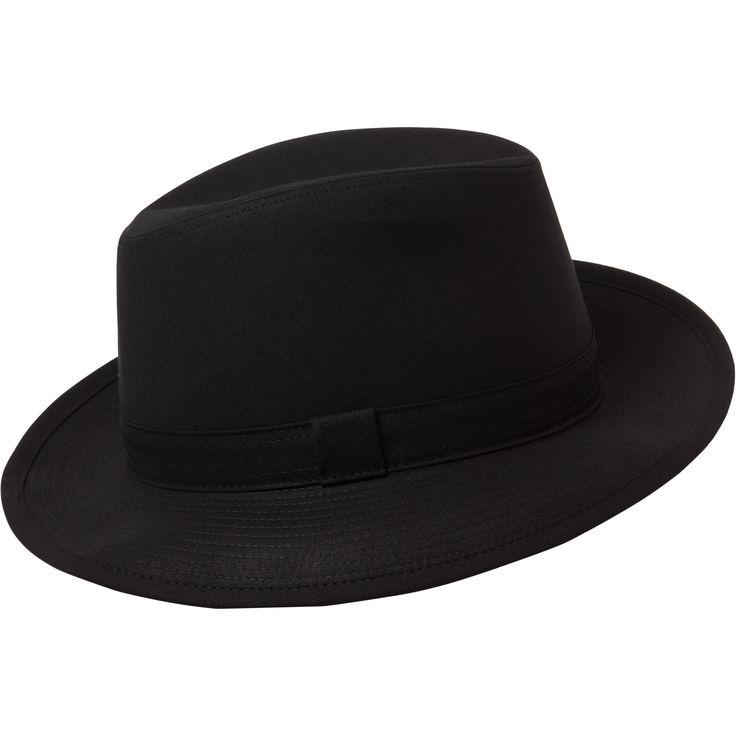 chapeau hamilton noir chapeau en gabardine avec bord surpiqué. Doublé tissu carreaux avec gros grain intérieur.