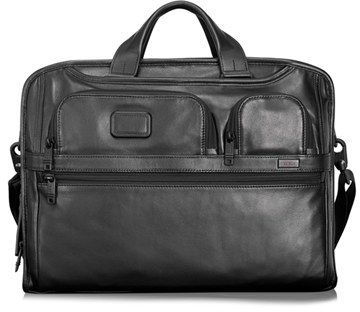 $555, Tumi Alpha 2 Softside Expandable Leather Laptop Briefcase. Sold by Nordstrom. Click for more info: https://lookastic.com/men/shop_items/142482/redirect