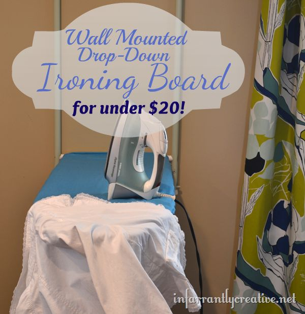 inexpensive, low profile, wall-mount ironing board. awesome, could easily hide it behind a hinged piece of art on canvas