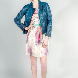 Printed chiffon dress with pencil pleat skirt with gorgeous #goanywhere blue jacket #OOTD for Spring