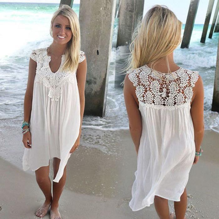 Boho Sleeveless Womens Loose Summer Beach Lace Dress Lace Beach Dress Lace Dress Boho Summer Dresses For Women