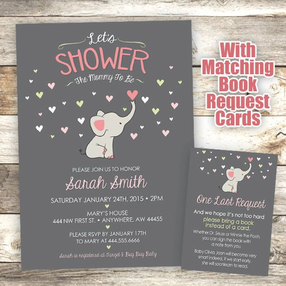 Elephant Baby Shower Invitation - Mommy to Be Shower Invitation - Elephant…