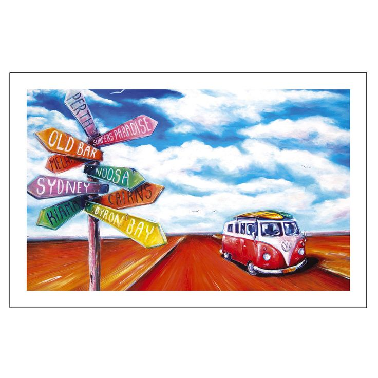 Road Trip Tea Towel Summer Life beach VW Kombi Outback adventure Bar design